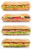 Raccolta di sotto panini con il pesce di color salmone del formaggio del prosciutto del salame Immagine Stock