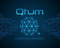 Raccolta di stile del fondo del bitcoin di Qtum Illustrazione di Stock
