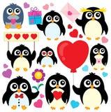 Raccolta 1 di tema dei pinguini del biglietto di S. Valentino Immagini Stock Libere da Diritti