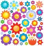 Raccolta 3 di tema del fiore royalty illustrazione gratis