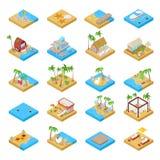 Raccolta di vacanza della spiaggia con il bungalow, la barca, le palme e gli elementi tropicali Illustrazione piana isometrica 3d illustrazione vettoriale