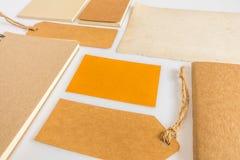 Raccolta di vari carta, cartone, etichetta, carta e libro con Fotografie Stock