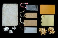 Raccolta di vari pezzi e dell'etichetta della carta di lerciume isolati Immagine Stock Libera da Diritti
