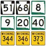 Raccolta di vari schermi dell'itinerario dello stato negli Stati Uniti Immagini Stock