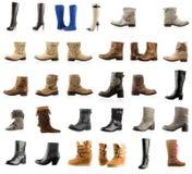 Raccolta di vari tipi stivali Fotografia Stock