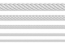 Raccolta di varia corda delle corde su fondo bianco Ciascuno è sparato esclusivamente Blac bianco di ripetizione senza cuciture d royalty illustrazione gratis
