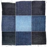 Raccolta di varie strutture del tessuto dei jeans Fotografia Stock