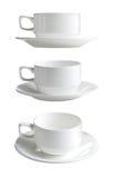 Raccolta di varie tazze bianche Fotografia Stock