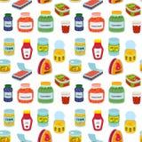 Raccolta di vario contenitore del metallo dell'alimento delle merci inscatolate delle latte illustrazione di stock