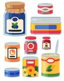 Raccolta di vario metallo dell'alimento delle merci inscatolate delle latte e del contenitore di vetro illustrazione vettoriale