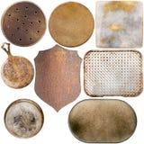 Raccolta di vecchi piatti di metallo immagini stock