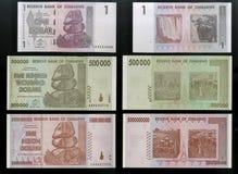 Raccolta di vecchia Banca delle banconote dello Zimbabwe Fotografia Stock Libera da Diritti