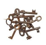 Raccolta di vecchie chiavi arrugginite Fotografia Stock