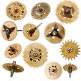 Raccolta di vecchie parti del movimento a orologeria immagini stock