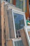 Raccolta di vecchie strutture della finestra di legno Immagini Stock Libere da Diritti