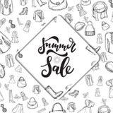 Raccolta di vendita di estate Fondo di vettore con il sole illustrazione vettoriale