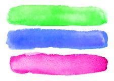 Raccolta di verde astratto dell'acquerello, blu, colpi rosa della spazzola Fotografia Stock