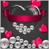 Raccolta di vetro del cuore Immagini Stock