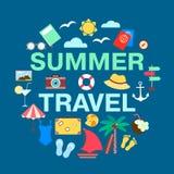 Raccolta di vettore di concetto di viaggio di estate Fotografie Stock