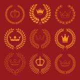 Raccolta di vettore: corone dell'alloro con le corone Immagine Stock Libera da Diritti