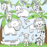 Raccolta di vettore degli animali dello zoo del fumetto illustrazione vettoriale