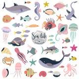Raccolta di vettore degli animali e del pesce subacquei svegli illustrazione di stock