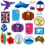 Raccolta di vettore degli autoadesivi di viaggio, bolli, distintivi Immagini Stock