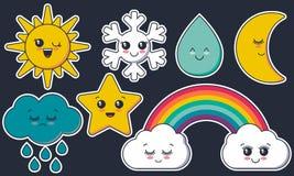 Raccolta di vettore dei caratteri del tempo Fronti sorridenti svegli sole, luna, stella, arcobaleno, nuvola, fiocco di neve, gocc illustrazione di stock