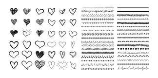 Raccolta di vettore dei cuori disegnati a mano e delle linee sveglie del divisore, disegni neri isolati su fondo bianco illustrazione vettoriale