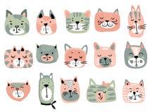 Raccolta di vettore dei fronti variopinti del gatto Illustrazione divertente per i bambini illustrazione di stock