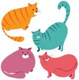 Raccolta di vettore dei gatti grassi divertenti illustrazione vettoriale