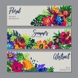 Raccolta di vettore dei mazzi dei fiori e delle piante tropicali e della struttura dipinta a mano illustrazione di stock