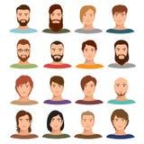 Raccolta di vettore dei ritratti del maschio adulto Il profilo di Internet equipaggia i fronti del fumetto illustrazione di stock