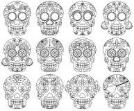 Raccolta di vettore del giorno di scarabocchio dei crani morti Fotografie Stock Libere da Diritti