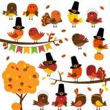 Raccolta di vettore del ringraziamento sveglio e di Autumn Birds Fotografie Stock Libere da Diritti