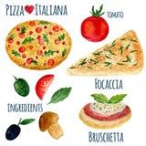 Raccolta di vettore dell'illustrazione della pizza dell'acquerello isolata Insieme del menu di Italiana Immagini Stock Libere da Diritti