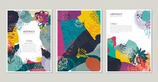 Raccolta di vettore delle carte creative d'avanguardia con carta tagliata, gli elementi floreali e le strutture differenti royalty illustrazione gratis