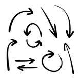 Raccolta di vettore delle frecce disegnate a mano nere, puntatori, icone messe isolate illustrazione di stock