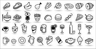 Raccolta di vettore delle icone dell'alimento Fotografia Stock Libera da Diritti