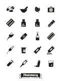 Raccolta di vettore delle icone di glifo della medicina e della farmacia illustrazione di stock
