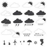Raccolta di vettore delle icone di previsioni del tempo Immagini Stock