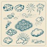 Raccolta di vettore delle icone disegnate a mano della nuvola illustrazione vettoriale