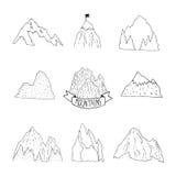 Raccolta di vettore delle montagne, montagna disegnata a mano Fotografie Stock Libere da Diritti
