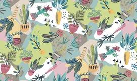 Raccolta di vettore delle piante della casa in vasi con il fondo della carta del collage illustrazione di stock