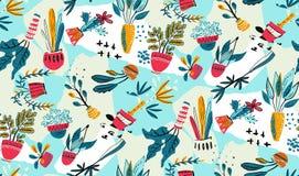 Raccolta di vettore delle piante della casa in vasi con il fondo della carta del collage royalty illustrazione gratis