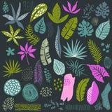 Raccolta di vettore delle piante tropicali e delle strutture astratte illustrazione vettoriale