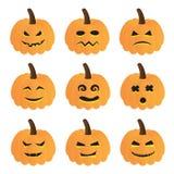 Raccolta di vettore delle zucche di Halloween Fotografie Stock Libere da Diritti