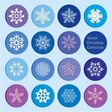 Raccolta di vettore: icone dei fiocchi di neve del nuovo anno e di natale royalty illustrazione gratis