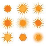 Raccolta di vettore: icone del sole Fotografie Stock