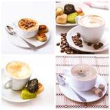 Raccolta di vista superiore dell'assortimento della tazza di caffè e dei chicchi di caffè isolata Immagine Stock Libera da Diritti